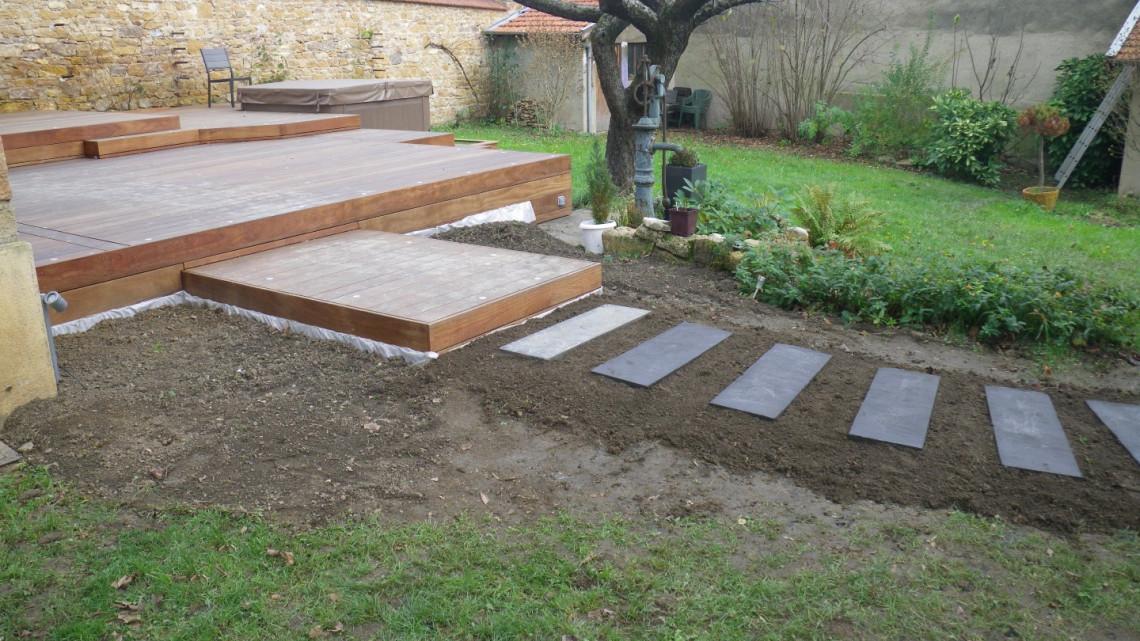 Amenagement Jardin Terrasse Bois Ip Avec Jacuzzi A Saint