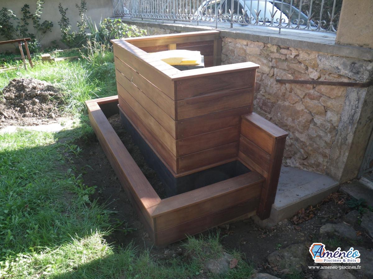 Amenagement Jardin Avec Piscine Bois aménagement jardin terrasse bois ip avec jacuzzi à saint
